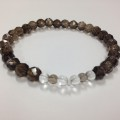 Wrist mala Smokey Quartz and clear quartz crystal absorbs negativity